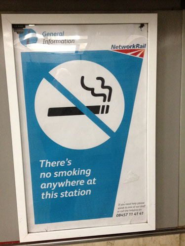 There's no smoking anywhere at this station
