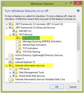 Install IIS Options