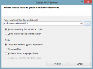 Wcf Publish Dialog