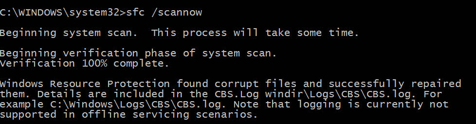 "The ""sfc /scannow"" command is run and shows files are repaired"