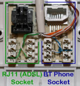 RJ11 ADSL and Phone Extension Wiring shown upside-down so pin numbers are right-way-up